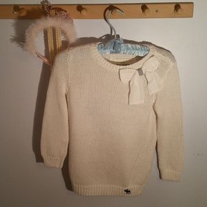 Abercrombie Size 12 Solid White Bow Sweater